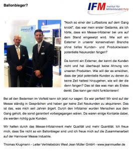IFM Referenz Messe Jean Müller Herr Krugmann