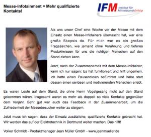 IFM Referenz Messe Jean Müller Herr Schmidt