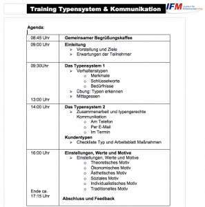 Agenda Training Typensystem und Kommunikation